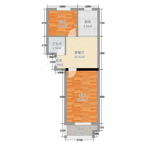 山海宜家2室2厅1卫1厨55.00㎡户型图