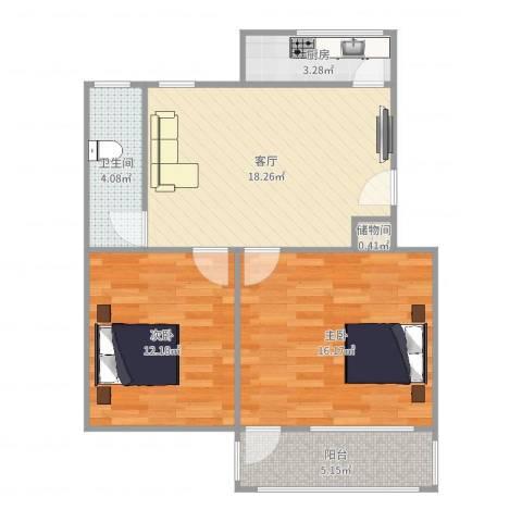 洪苑小区2室1厅1卫1厨74.00㎡户型图