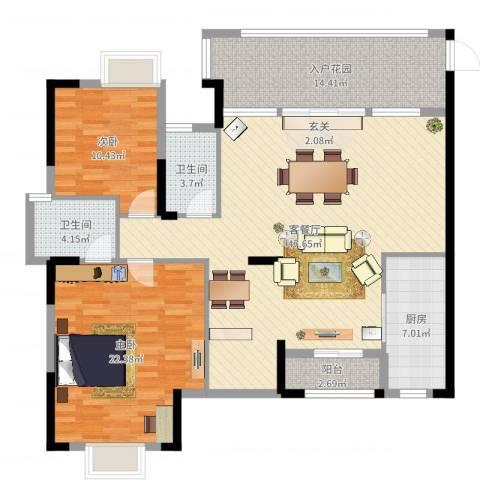 星越・星湖华府2室2厅2卫1厨141.00㎡户型图
