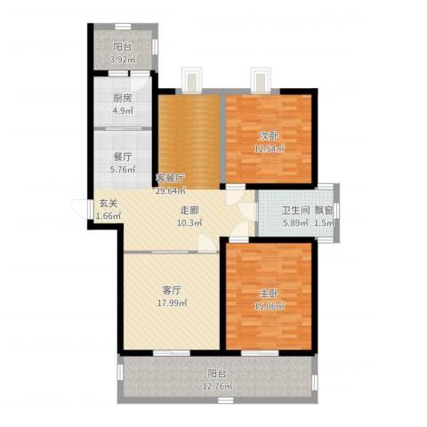 华辰丽景2室2厅1卫1厨125.00㎡户型图