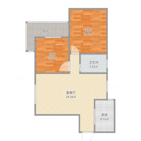 欧典家园2室2厅1卫1厨73.00㎡户型图