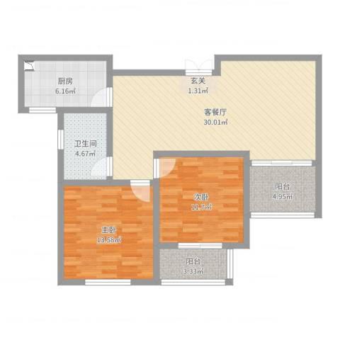 御品世家2室2厅1卫1厨93.00㎡户型图