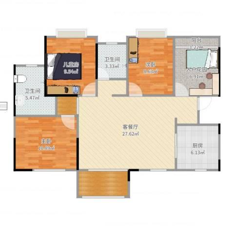 利海米兰春天4室2厅2卫1厨106.00㎡户型图