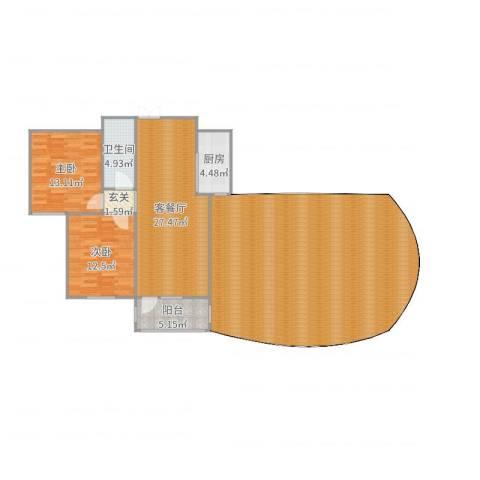 湖玺御墅2室2厅1卫1厨171.00㎡户型图