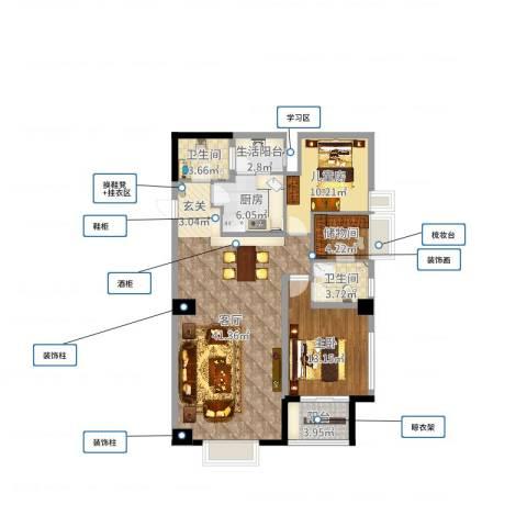 枫丹国际公寓2室1厅2卫1厨111.00㎡户型图
