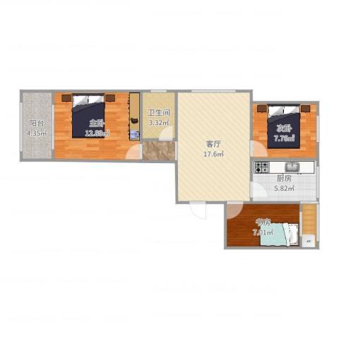 金玉豪庭3室1厅2卫1厨77.00㎡户型图