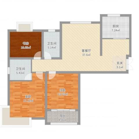 学府壹号3室2厅2卫1厨126.00㎡户型图