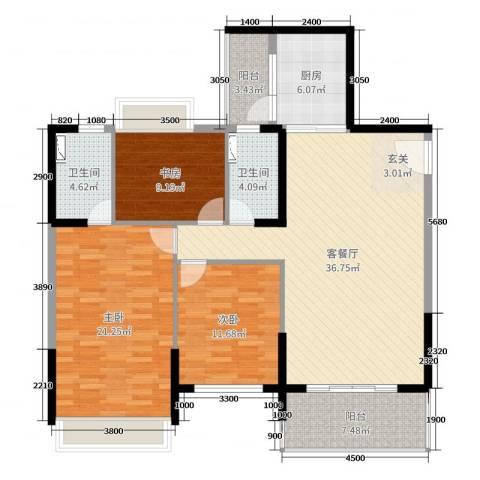 达凯御湖国际3室2厅2卫1厨135.00㎡户型图