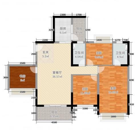 达凯御湖国际4室2厅2卫1厨151.00㎡户型图