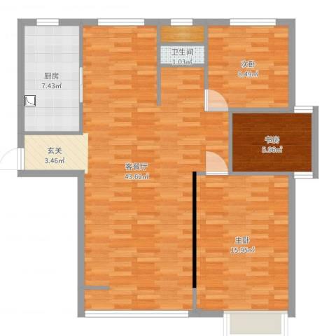 心圆东苑3室2厅1卫1厨104.00㎡户型图