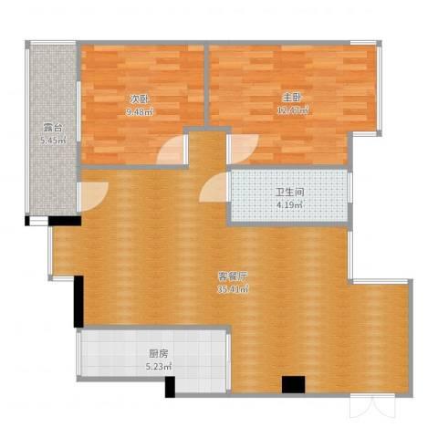 江畔花园2室2厅1卫1厨90.00㎡户型图