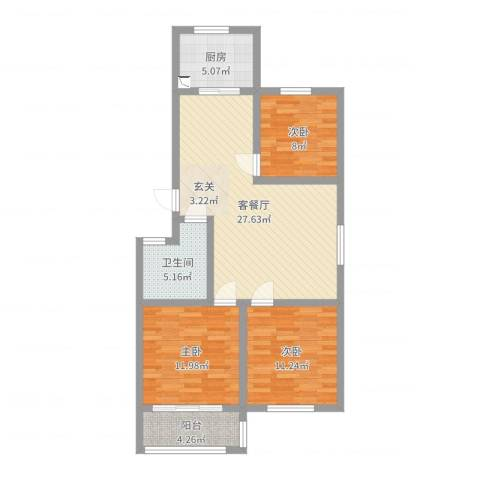 一品名郡3室2厅1卫1厨92.00㎡户型图