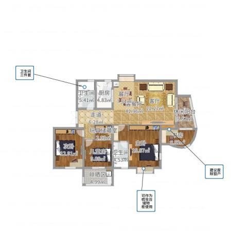 南溪花园4室2厅2卫1厨149.00㎡户型图