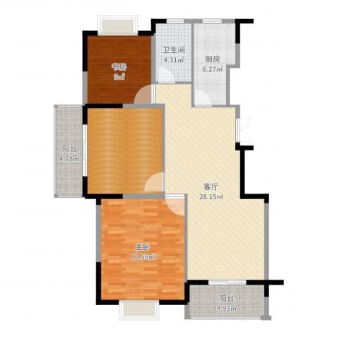 王子公馆2室1厅1卫1厨110.00㎡户型图