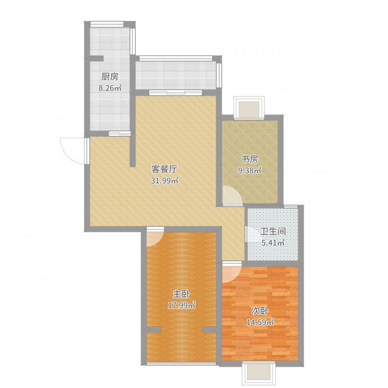 云珠海棠湾6-C户型118㎡三室二厅一卫