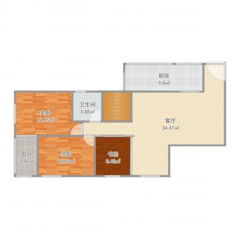 南航新村3室1厅1卫1厨106.00㎡户型图