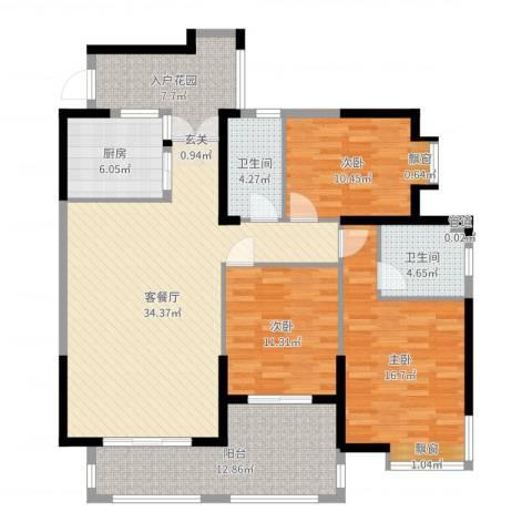 海投天湖城3室2厅2卫1厨135.00㎡户型图