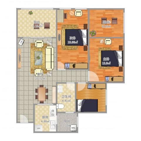 金科公园王府2室1厅1卫1厨117.00㎡户型图