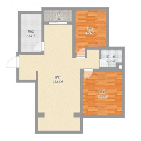 贺桥公寓15号楼1101室2室1厅1卫1厨80.00㎡户型图