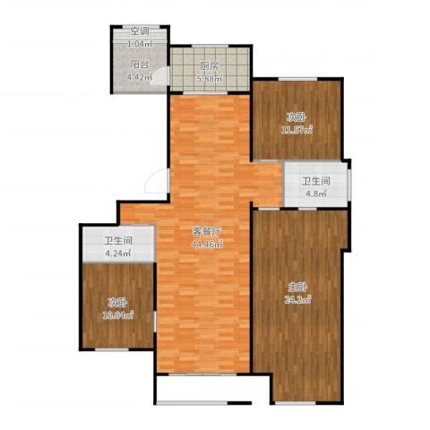 首开保利熙悦诚郡127平米3室2厅2卫1厨138.00㎡户型图