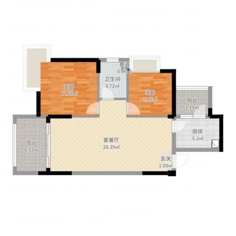荆门碧桂园三期凤栖岛2室2厅1卫1厨83.00㎡户型图
