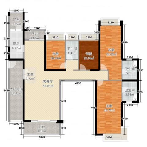 达凯御湖国际4室2厅3卫1厨216.00㎡户型图