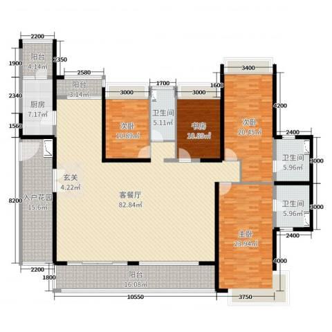 达凯御湖国际4室2厅3卫1厨254.00㎡户型图