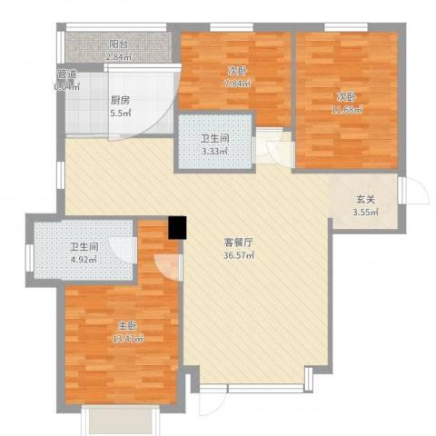 怡水湾3室2厅2卫1厨108.00㎡户型图