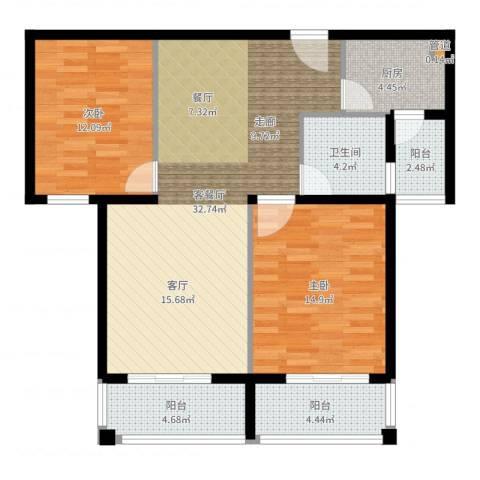 建业森林半岛2室2厅1卫1厨100.00㎡户型图