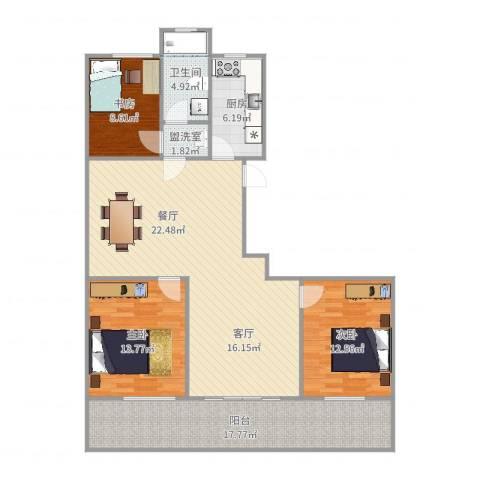 宝恒水木清华3室2厅1卫1厨130.00㎡户型图