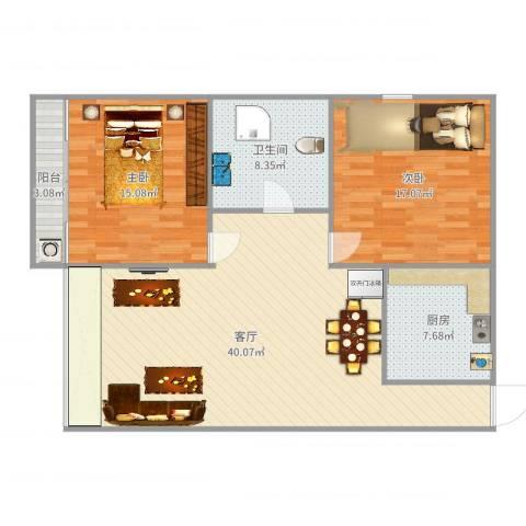 栖里凤台46#楼2室1厅1卫1厨114.00㎡户型图