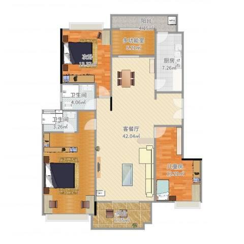 保利亚奥北苑2室2厅2卫1厨152.00㎡户型图
