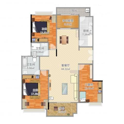 保利亚奥北苑3室2厅2卫1厨152.00㎡户型图