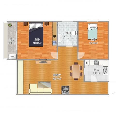 栖里凤台46#楼2室2厅1卫1厨115.00㎡户型图