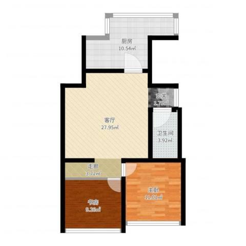 康庄住宅小区2室1厅1卫1厨78.00㎡户型图