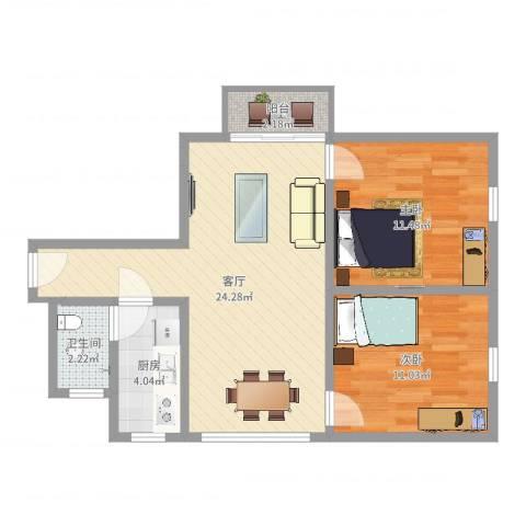 海逸花园2室1厅1卫1厨69.00㎡户型图