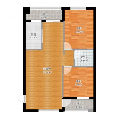东苑新城二期2室2厅1卫1厨84.00㎡户型图