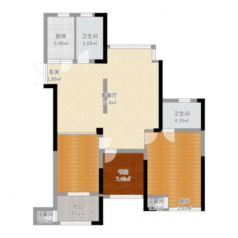 绿洲白马公馆1室2厅2卫1厨115.00㎡户型图