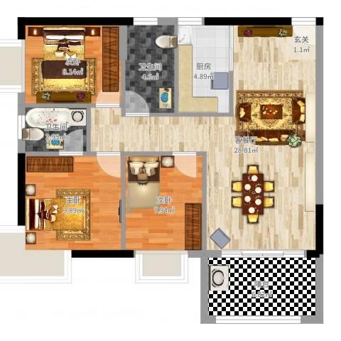 中兴苑3室2厅2卫1厨93.00㎡户型图