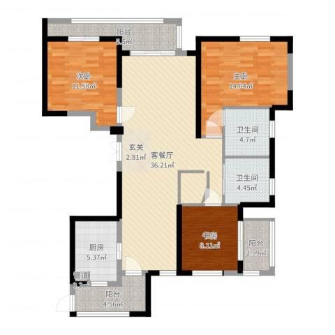 象山丹桂花园3室2厅2卫1厨122.00㎡户型图