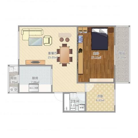 天水丽园2室2厅1卫1厨84.00㎡户型图
