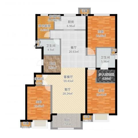 晋中万科・朗润园3室2厅2卫1厨174.00㎡户型图