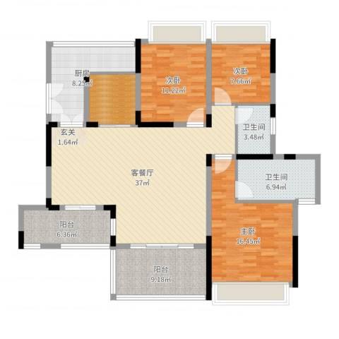 远大美域二期3室2厅2卫1厨140.00㎡户型图