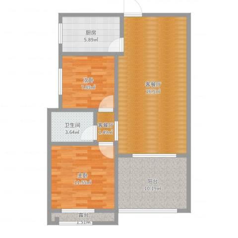柏林春天1-22022室4厅1卫1厨86.00㎡户型图
