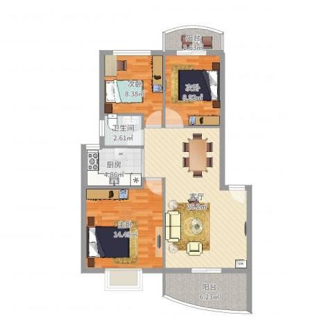 建昌99度城3室1厅1卫1厨92.00㎡户型图