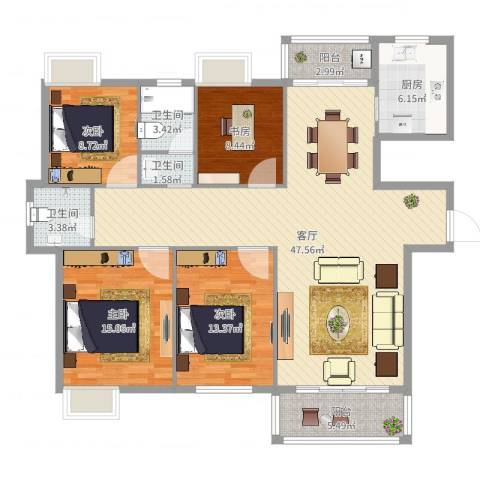 世茂世界湾4室1厅3卫1厨145.00㎡户型图