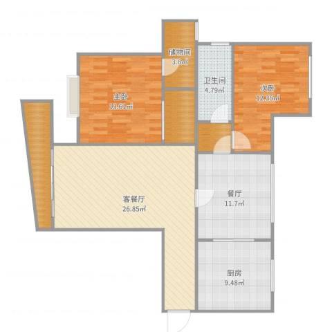 东方花园2室3厅1卫1厨115.00㎡户型图