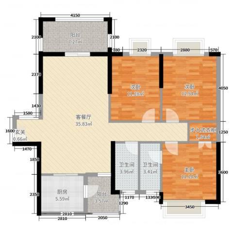 盛世华庭3室2厅2卫1厨125.00㎡户型图