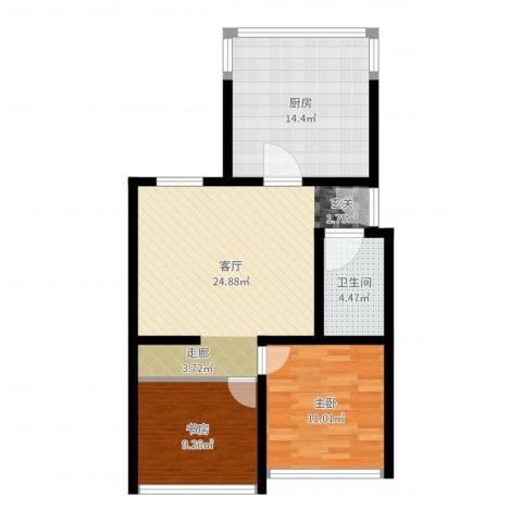 康庄住宅小区2室1厅1卫1厨80.00㎡户型图