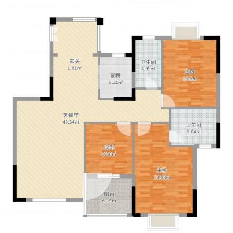 乐仙小镇3室2厅2卫1厨145.00㎡户型图